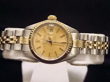 Rolex Date Ladies 2Tone 14K Yellow Gold Steel Watch Jubilee Band Champagne 6917