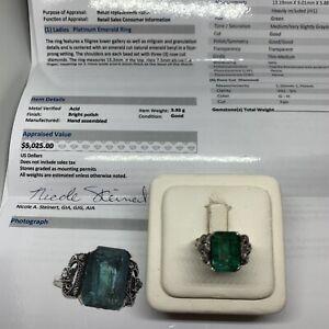 Antique platinum emerald natural rose cut diamond ring vintage appraisal