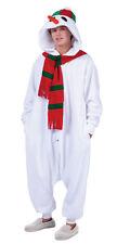 SNOWMAN ADULT FUNSIE COSTUME WHITE CHRISTMAS SNOW MAN PAJAMAS JUMPSUIT MENS