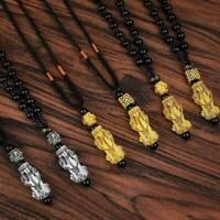 Fashion Natural Feng Shui Black Obsidian Pi Xiu Peace Buckle Pendant Necklace