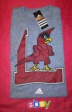 Louisville Cardinals FOOTBALL Adidas Men SZ L HEATHER GRAY T-Shirt NEW NWT!
