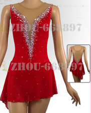 Ice skating dress Competition Figure Skating Classic Costume red deep v