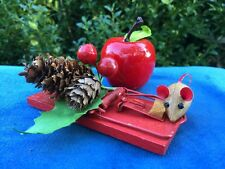 ANTIQUE Primitive MOUSE TRAP Cheese Apple Pip Berry Pine Cone Miniature Doll 4""