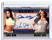 TNA Gail Kim & Velvet Sky 2013 GLORY GREEN Dual Autograph Card SN 2 of 5