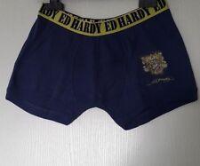 ED HARDY KIDS BOXER 100% COTON TAILLE 14 ANS (XL ENFANT) COLORIS MARINE NAVY 406