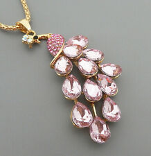Pink Peacock Betsey Johnson  Pendant Necklace L12