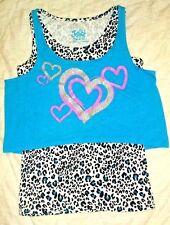Justice Girls size 14 stretch Blue cheetah heart tank sleeveless top shirt