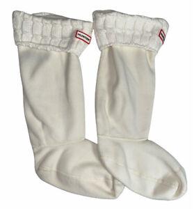 Hunter Womens Beige Fleece Cable Knit Liner Boot Socks L shoe sizes 8-10 US