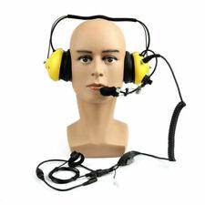 1x Military Aviation Boom Racing Tactical Headset For Kenwood 2-Way Radio Yellow