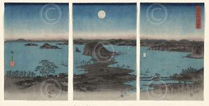 ASIAN ART PRINT - Kanazawa in Moonlight, 7th month, 1857 by Ando Hiroshige 32x17