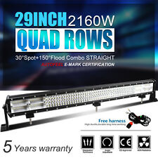 "9D+ 29Inch 2160W Led Spot Flood Quad Rows Light Bar Fit For Jeep Ford SUV 30"" 36"