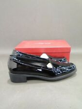 NWB Salvatore Ferragamo ITALY Black Patent Leather Moccasins Loafers SHOES 10B