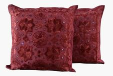 "Indian Pure Cotton Bohemian Hippie Ethnic Cushion Cover 16X16"" Mirror Work Set-2"
