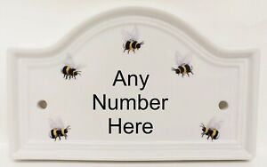 Personalised Bumble Bees Ceramic Bridge House Number Door Plaque Sign Any Number