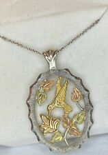 Black Hills Sterling Silver w/ 10K Gold Leaves & Colibri with Silver Necklace