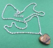 Tigers Eye Gemstone Heart Pendant Necklace NEW Women's Teens - Aussie Seller!!