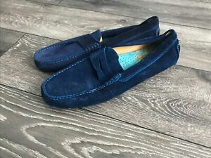 Mens  Russell & Bromley Soft Top Suede Blue Driving Shoes Size 10 New
