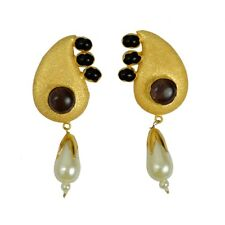Amethyst Black Onyx Pearl Gemstone Yellow Gold Plated Handmade Design Earrings