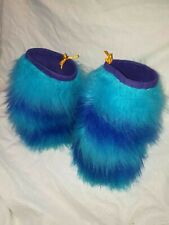 Fluffy Rave Leg Warmers blue and turquoise strips