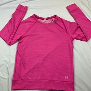 Under Armour Women's ColdGear Cozy Zip Crew Pink Striped Running Shirt Size Med