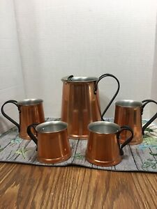 Copper Jug Pitcher Set 4 Tankard Mugs Riveted Wrought Iron Handles