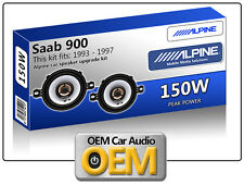 "Saab 900 Anteriore Cruscotto speaker Alpine 3.5"" 87cm altoparlante auto kit 150W"