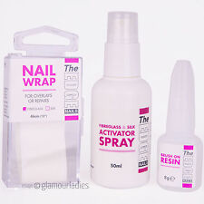 The Edge Nails Fibreglass Wrap Trial Kit - activator spray, 8g brush on resin