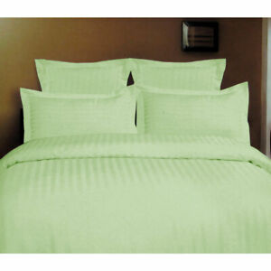 1000TC Self Striped Cotton Rich Tailored Quilt Cover Set Green Queen