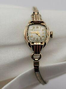 Women's Bulova 10k Gold RGP 17j 6BS Mov. Wind Up Wristwatch Watch 12k G.F Band