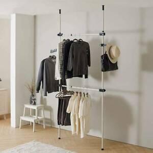 DIY Telescopic Wardrobe Organiser Garment Rack Clothes Tidy Rail 2 Poles 2 Bars