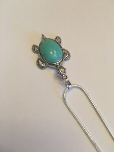 """Turquoise TURTLE 18K White Filled 2 1/4"""" Pendant/NECKLACE-N7027"""