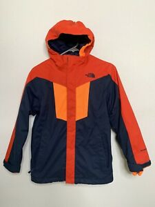 The North Face Boys Hyvent Jacket 2-in-1 Orange Red Shell & Fleece Sz M 10/12