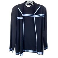 Exclusively Misook Knit Jacket Small Petite Open Front Cardigan Black Blue
