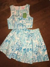 NWT Lilly Pulitzer MELODY Crop Top & Skirt Set in Resort White LA VIA LOCA Sz 0