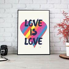 Love Is Love Rainbow Heart LGBT Poster Print Wall Art | Unframed A6 A5 A4