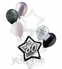 7 pc 80th Elegant Star Happy Birthday Balloon Bouquet Decoration Black & White