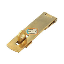 1 x 63mm SOLID BRASS HASP & STAPLE Small/Mini Door Cupboard/Cabinet Strap Lock