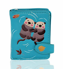 Shagwear Otters Small Zipper Women's Faux Leather Wallet, Teal