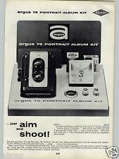 1962 PAPER AD Argus 75 Portrait Album Camera Kit Spartus Reflex Cameras