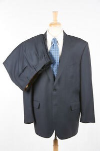 Mens JOS A BANK Suit 46 L SIGNATURE GOLD in Ocean Blue Solid Diamond Weave Wool