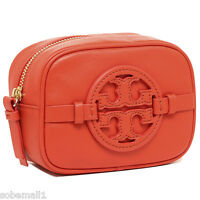 Tory Burch Holly Classic Leather Blood Orange Cosmetic Case