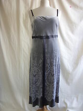 Ladies Dress - Fenn Wright & Manson, size 14, grey, velvety, doile print - 2282