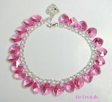 Indian Pink Heart Charm Bracelet Made With Swarovski & Solid Sterling Silver