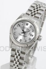 Rolex Ladies Datejust Steel Silver Diamond Dial & 18K Gold Fluted Jubilee Oyster