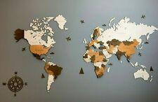 """World Woden Wall Map 3D effect  Decor for home SZ M (47""""x 31,5"""")"""