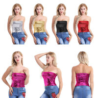 Fashion Women Strapless Sparkling Sequins Tube Top Wrap Bra Tight Tank Vest
