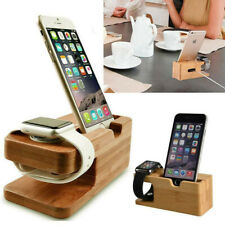 2 In 1 Bamboo Charging Dock Station Stand Holder For Apple iWatch Iphone pro XR
