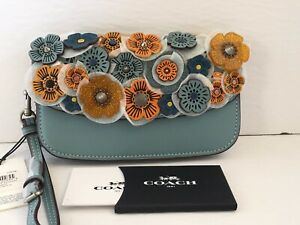 NWT Coach 10792 Steel Blue Clutch with small Tea Rose, MSRP $295(1941)