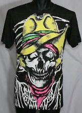 COWBOY SKULL Thin Burn Out T-Shirt LARGE American Punk ZACE Misfit Outlaw WICKED