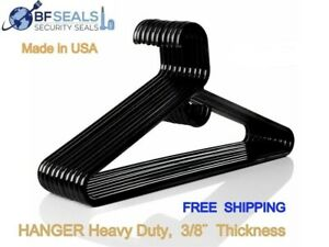 Plastic HANGERS. Black Color, 24 Pack. Made in USA,  Heavy duty